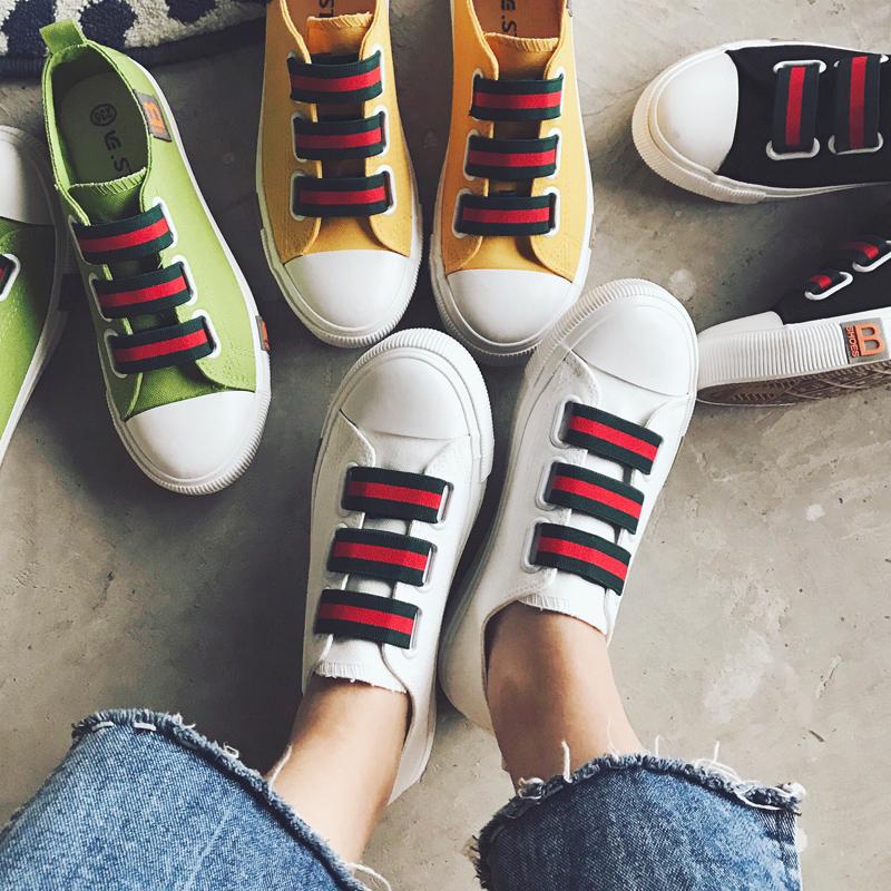夏天厚底小白鞋韩版潮原宿帆布鞋学生板鞋百搭平底鞋子