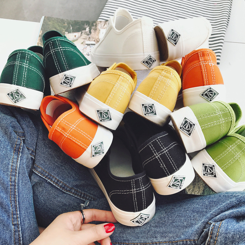 懒人帆布鞋小白鞋韩版潮原宿板鞋学生鞋子平底春季