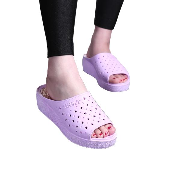 夏季韩版新款鱼嘴凉拖鞋女高跟一字拖厚底坡跟拖鞋女夏时尚凉拖鞋