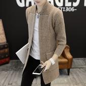 秋冬中长款风衣男装大衣青年针织衫开衫毛衣帅气披风潮流针织外套