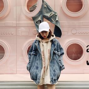 NICKI STUDIO 春秋韩版中长款酷酷的宽松牛仔外套女学生短外套
