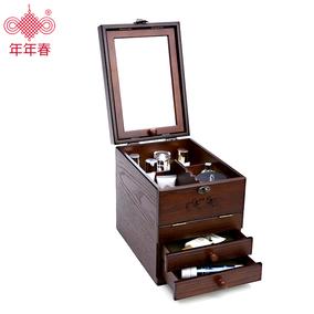 收纳箱梳妆盒护肤品整理带镜子抽屉大号公主欧式木制