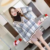 2017秋冬季加厚实双面织格子毛衣套头女百搭宽松复古假两件针织衫