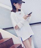 2017韩国中长款宽松纯色T恤女夏装镂空破洞海边沙滩长袖防晒衣潮