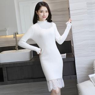 秋针织修身显瘦蕾丝毛衣连衣裙