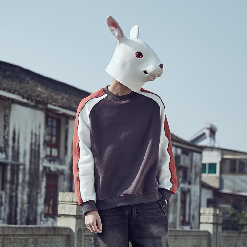 兔子先森2017新款卫衣男秋冬季加绒套头圆领潮牌学生韩版长袖外套