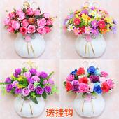 壁挂仿真花篮假花套装墙壁花篮挂壁装饰花客厅摆设花室内塑料花卉