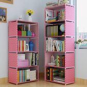 简易DIY书架置物架金属管办公室格架多层收纳加固储物防尘书柜