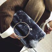 2016包包欧美时尚毛绒托特包秋冬新款圆环手提包女包大容量单肩包