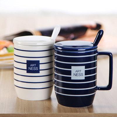 陶瓷杯子新款海军经典条纹马克杯带盖勺子咖啡杯水杯礼品杯