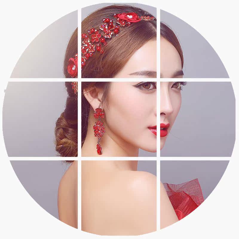 费拉拉 新娘红色手工头饰发饰日韩式花朵耳饰套装中式婚纱配饰品