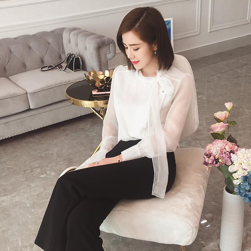仙女系帶女韓版OL氣質上衣修身襯衫雪紡衫春季 大英自制 DY