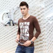 长袖t恤 男 韩版修身圆领印花男士打底衫秋季薄款青少年秋衣体恤