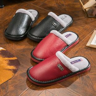 室内包头防滑情侣棉拖鞋 上海回力防水棉拖男 冬季厚底家居托鞋女
