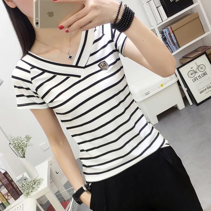 黑白夏季短袖修身女装条纹半袖打底纯棉恤显瘦上衣体恤