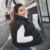 韩版宽松短款秋冬装黑色棉背心马夹学生棉马甲女士棉衣外套面包服