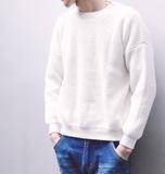 2017年春秋男士圆领韩版日系黑白灰色针织衫学生宽松毛线衣情侣装