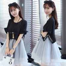 春夏甜美重工钉珠公主裙成人假两件连衣裙韩版拼接欧根纱蓬蓬裙