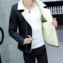 冬季大毛领夹克棉服男青少年短款棉衣加绒加厚棉袄学生冬装外套男