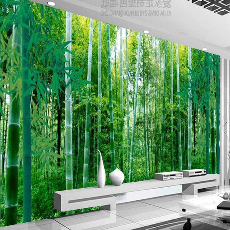 立体艺术壁画客厅电视背景壁纸竹林墙纸欧式田园高清竹子墙布3D5D