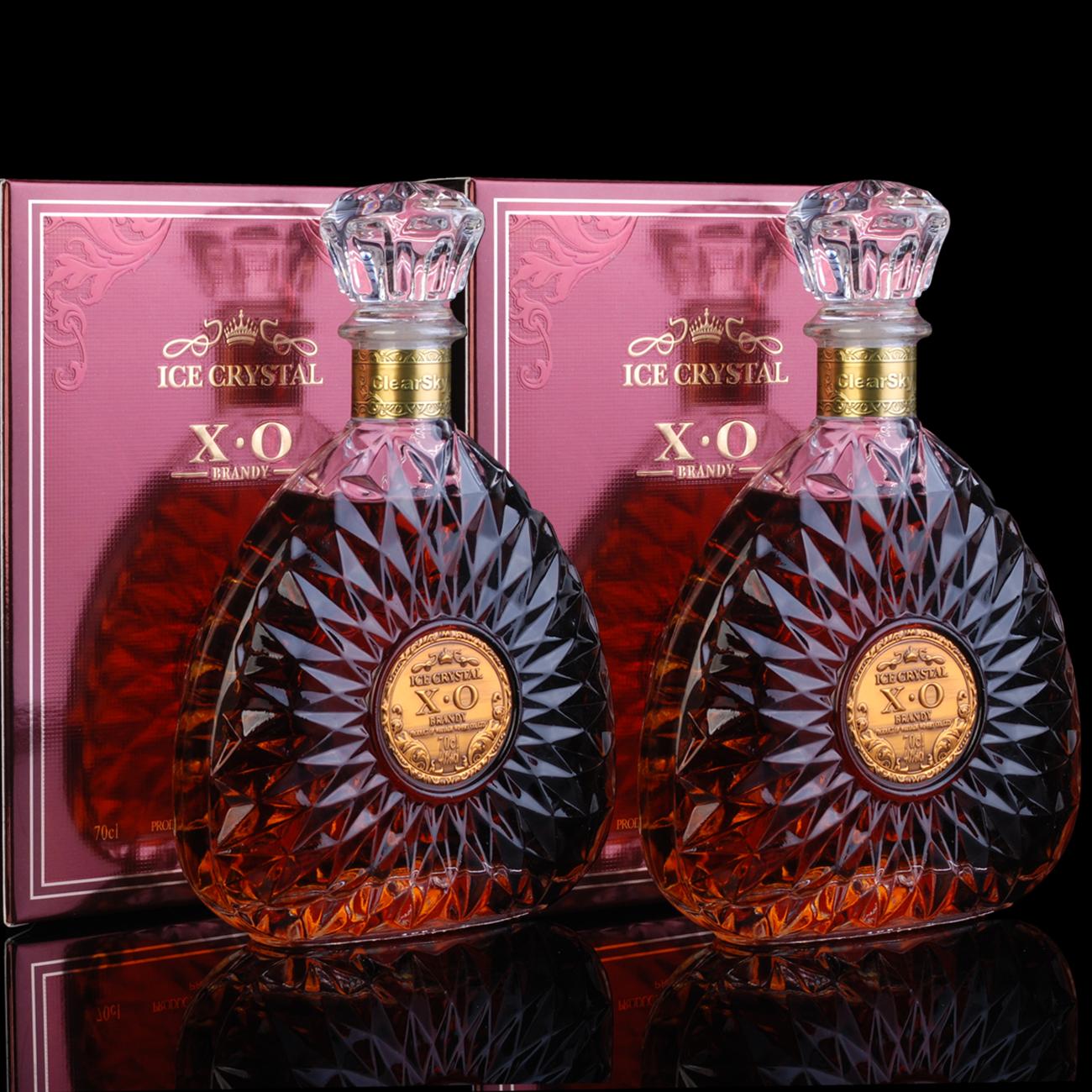 洋酒x.o 白兰地xo冰花 Brandy特价洋酒套装组合2瓶礼盒 爆款热卖