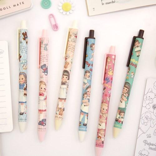韩国afrocat可爱洋娃娃圆珠笔细0.38黑色油性笔按压式圆珠笔