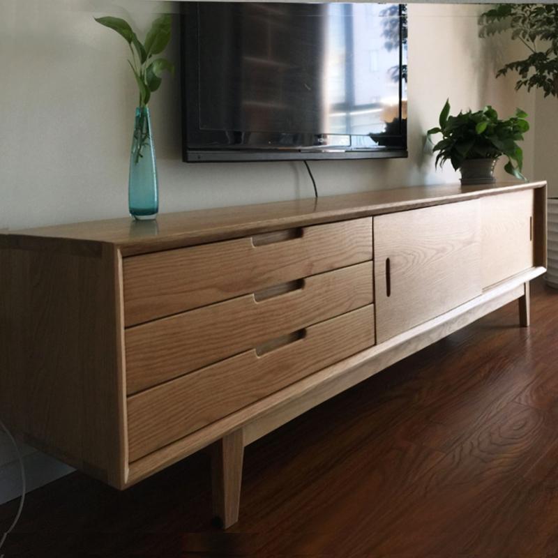 北欧宜家全实木电视柜简约现代储物柜白橡木客厅小小