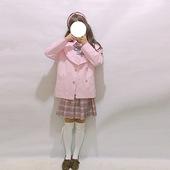 日系大翻领海军风少女淡粉色双排扣大码宽松长袖软妹外套