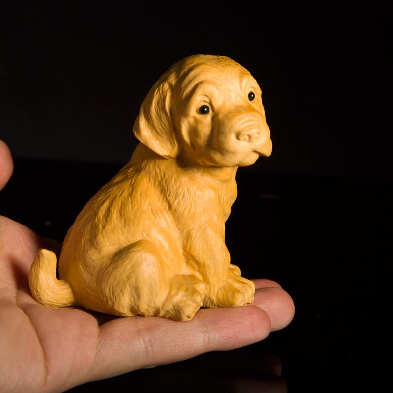 黄杨木雕十二生肖小狗手把件创意家居客厅饰品摆件动物雕刻工艺品