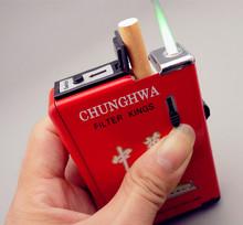 个性 防风不锈钢自动弹烟盒 超薄金属烟盒打火机创意男士 20支装
