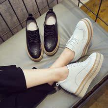 松糕厚底小白鞋女2017秋季新款韩版百搭内增高街拍单鞋英伦风女鞋