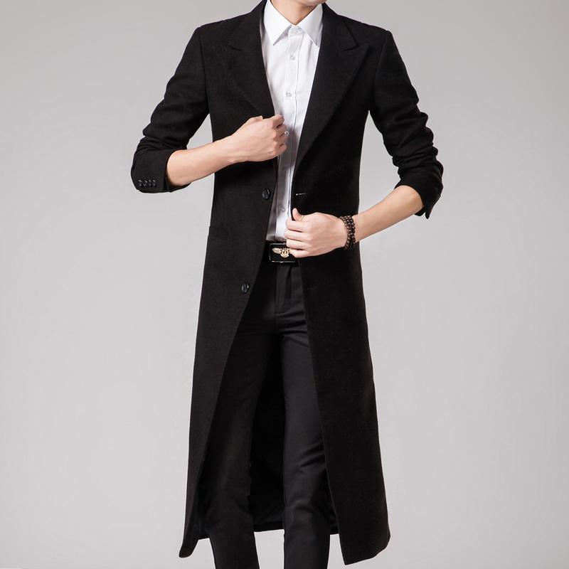 韩版秋冬长款风衣男士修身帅气超长款过膝加厚外套商务毛呢子大衣