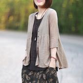 褶皱荷叶下摆宽松休闲亚麻针织衫开衫防晒衣空调衫女薄款2017新款