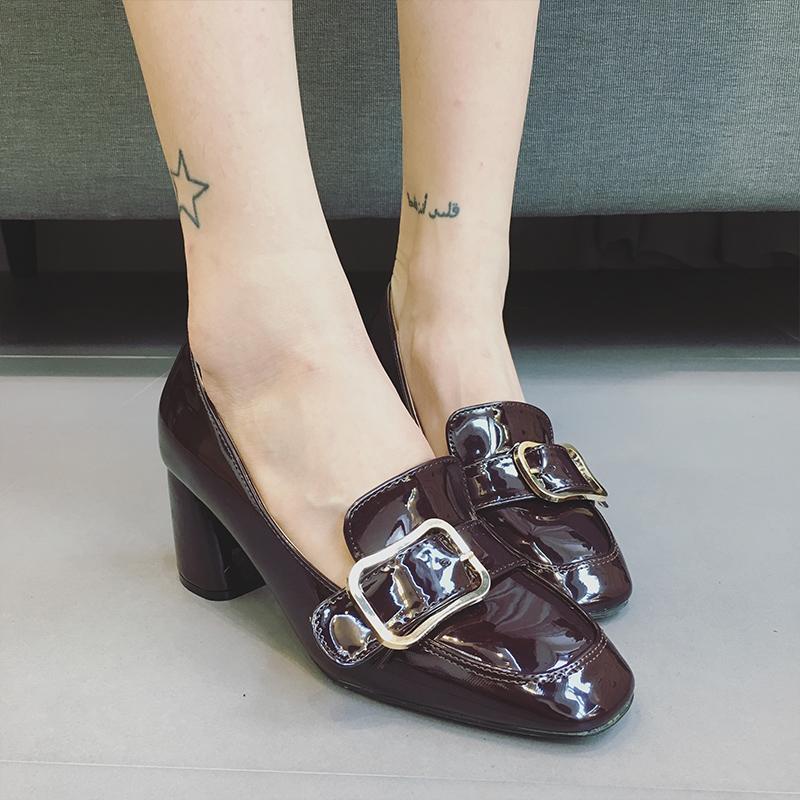 韩版性感高跟鞋女春秋漆皮方头皮带扣英伦风百搭女鞋浅口粗跟单鞋 - 女鞋秋高跟