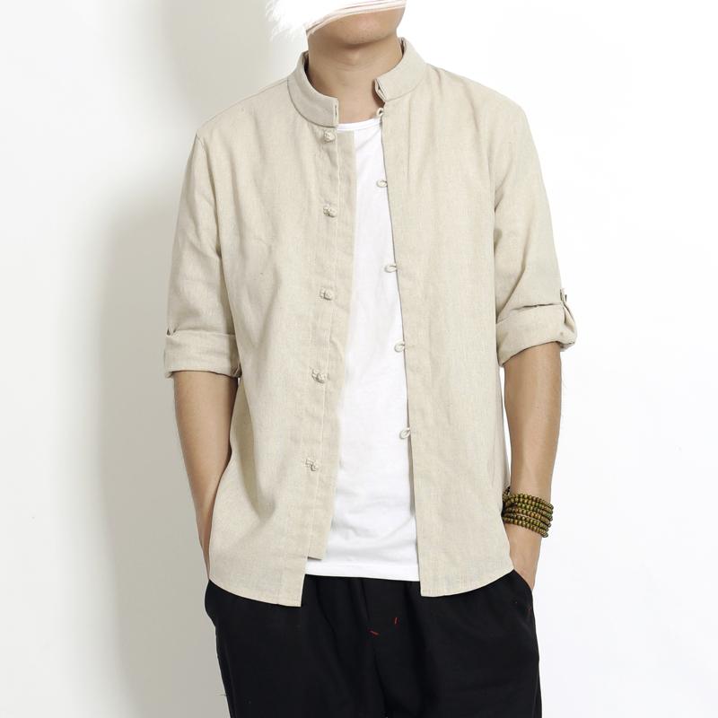 原创夏季中国风男装复古盘扣七分袖衬衫男棉麻立领唐装亚麻衬衣男