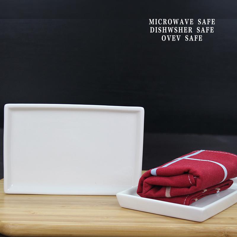 6寸陶瓷长方形毛巾托小托盘餐具展示盘蛋糕寿司碟子 酒店宾馆白色