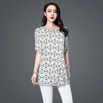 重磅真丝上衣女夏季2017新品 韩版宽松短袖中长款高档桑蚕丝t恤女