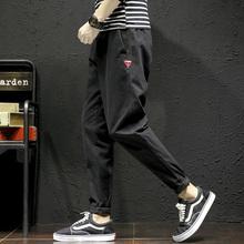 原创潮牌徽章设计工装裤男秋季直筒休闲裤日系青年九分裤学生长裤