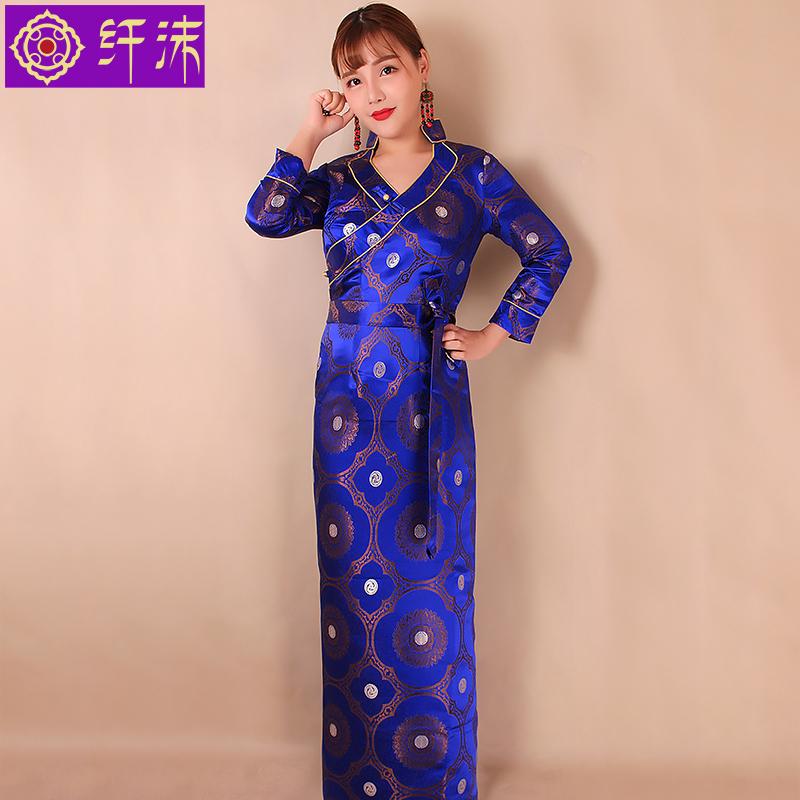 纤沫藏装女 夏季V领博拉西藏民族风服装锦缎藏服藏袍女式安多藏衣