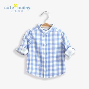 cutebunny宝宝春装 婴儿衬衫 男童格子衬衣 纯棉长袖立领潮宝衣服