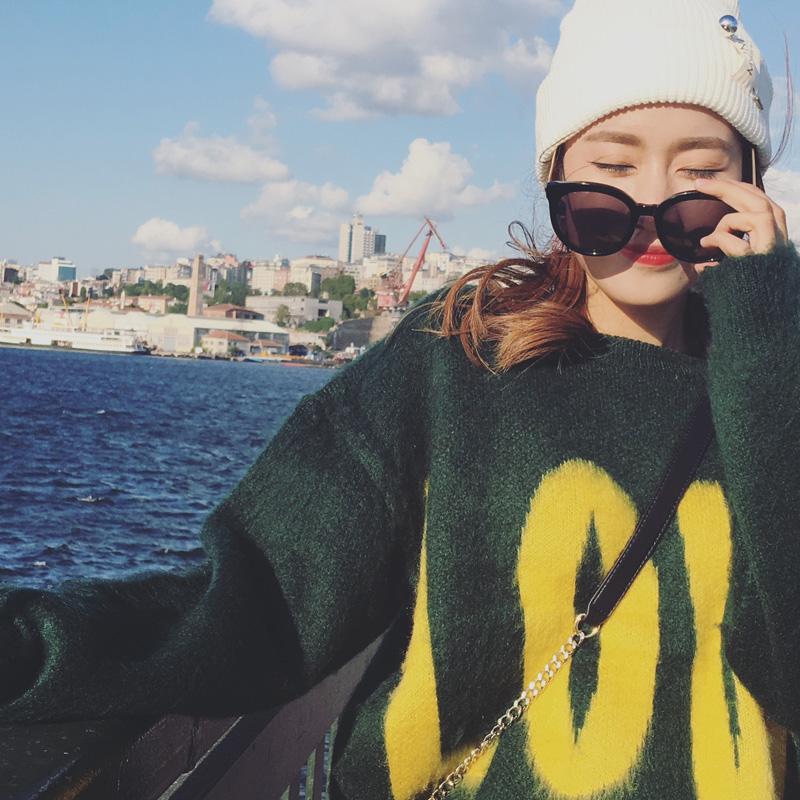 2016冬季新款女装潮 韩版宽松上衣针织毛衣女 韩版秋冬套头针织衫