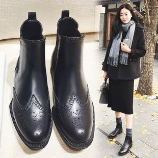 真皮粗跟切尔西短靴女平跟英伦风平底马丁靴女春秋单靴子秋冬女鞋