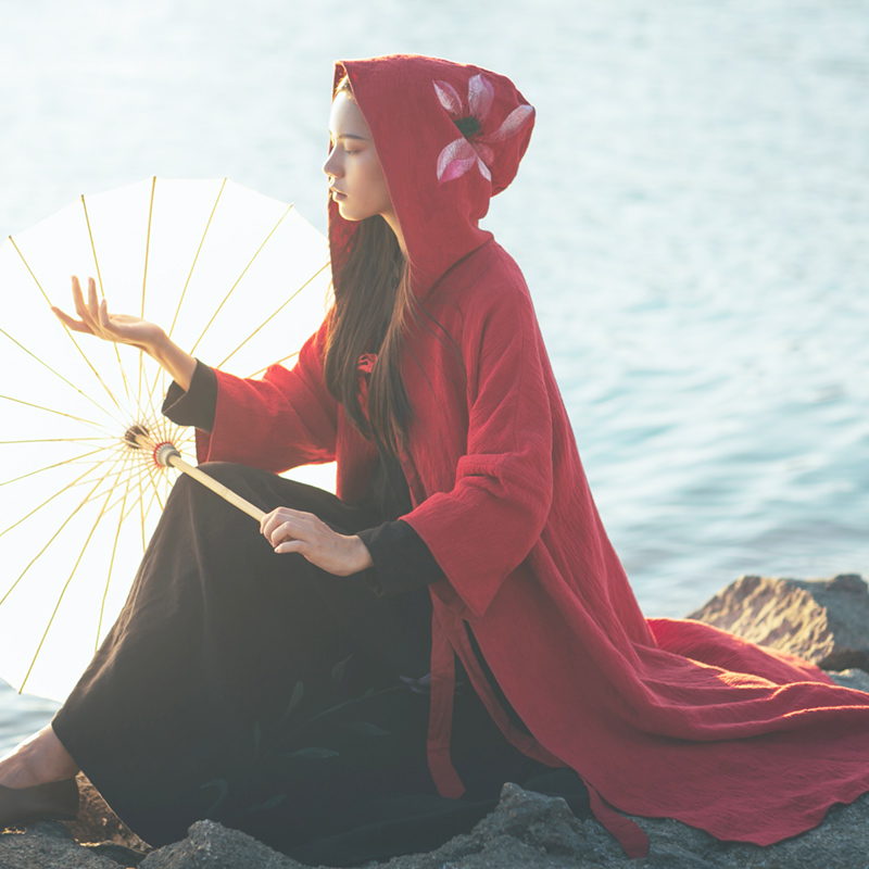 禅意国风古风手绘荷花酒红色斗篷外披风衣厚款秋冬装新款改良汉