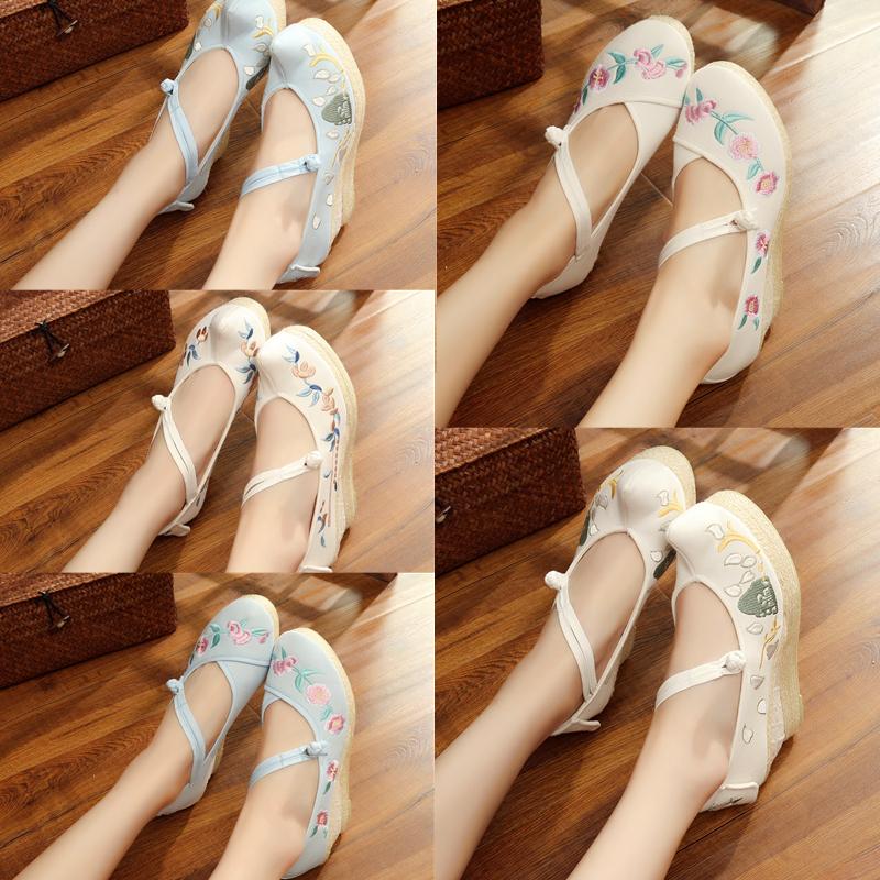 老北京单鞋千层底 民族绣花鞋 民族春夏秋坡跟 布鞋