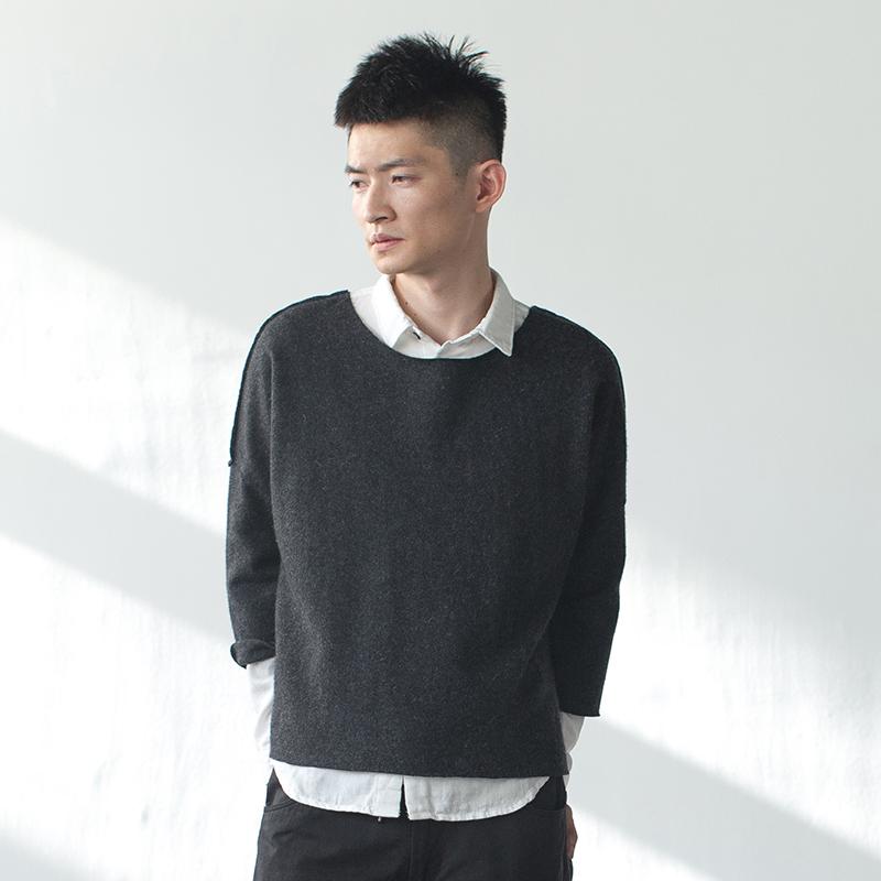 几立|落肩宽松毛边七分袖羊毛T恤