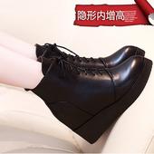 2016秋新款真皮加绒内增高女鞋8cm坡跟厚底松糕跟百搭冬季皮鞋女