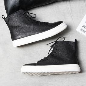 春季潮鞋英伦男士高帮鞋男鞋子韩版休闲皮鞋高邦板鞋真皮潮流短靴