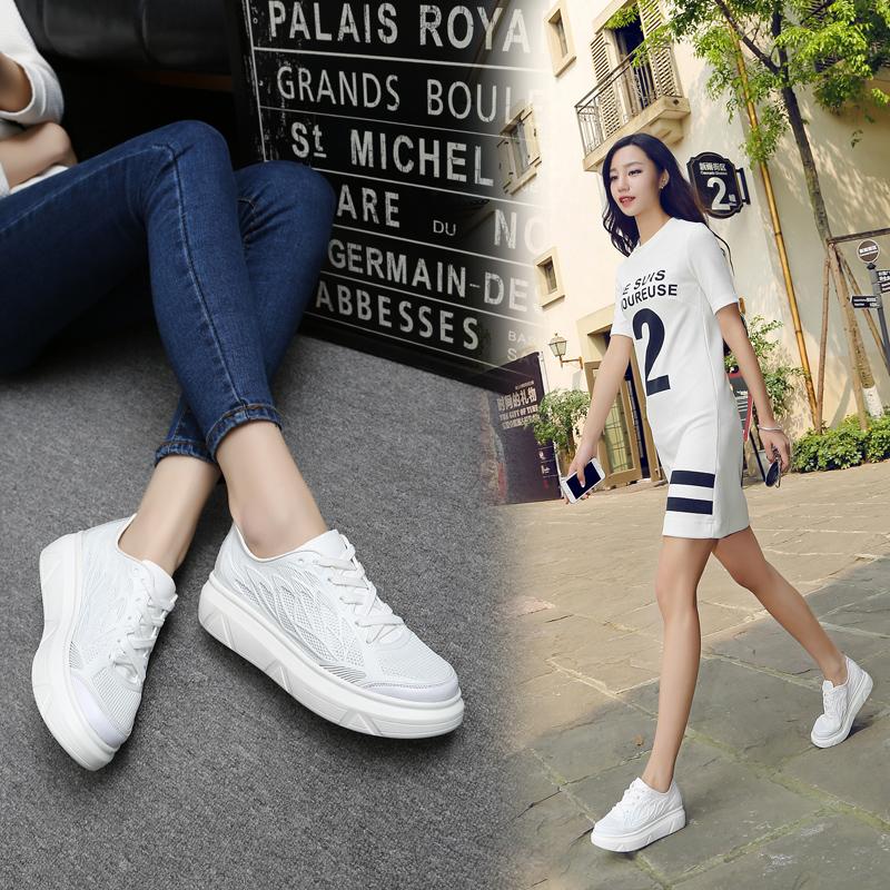 鞋子跑步休闲鞋运动鞋白色小白鞋网面透气网鞋厚底板女夏韩版