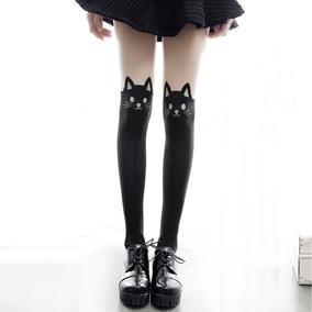 日系森女系卡通猫咪印花拼接丝袜可爱学生少女COS袜打底袜女春秋
