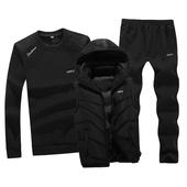 秋季跑步休闲运动服男士圆领套头大码卫衣运动套装纯棉春装三件套